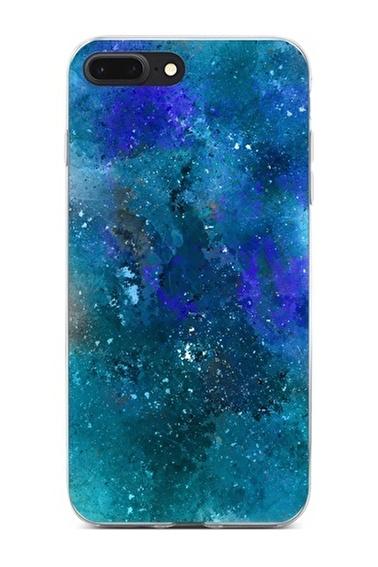 Lopard Apple İphone 8 Plus Kılıf Mavi Mermer Kapak Renkli
